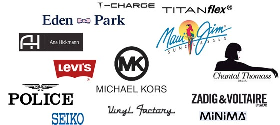 Police , Levi's , Zadig & Voltaire , Michael Kors , Chantal Thomass , Seiko , Ana Hickmann , Eden Park , T-Charge , Vinyl Factory , Minima , Titanflex , Maui Jim
