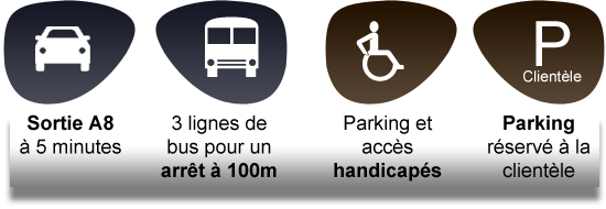 Sortie A8 à 5 minutes, 3 lignes de bus pour un arrêt à 100m, Parking et accès handicapés, Parking réservé à la clientèle